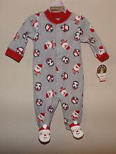 Holiday Christmas Santa Penguin footed sleeper pajama 0-3mon fleece long sleeve