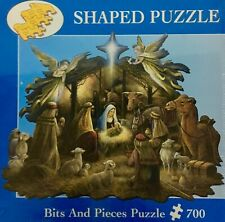 Bits and Pieces Shaped Puzzle 700 pc Christmas Nativity Scene In the Manger NEW