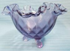 Fenton Art Glass Purple Amethyst Bowl Container Ruffle Diamond Footed Dish