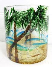 "Palm Trees Candle Votive Holder ""Island Vacation"" hand painted Crackle Glass"