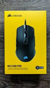 CORSAIR M55 RGB PRO Wired Multi-Grip Optical Gaming Mouse, Black, Cue, New