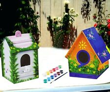 Childrens Kids Fun Paint Your Own Small Wooden Bird House Kit Nesting Play Box