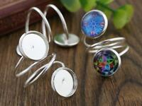 5pcs Silver Plated Spiral Adjustable Ring Blank/Base | Fits 2 12mm Cabochons