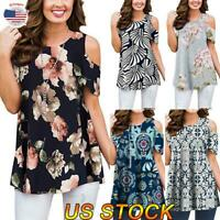 Women Cold Shoulder Short Sleeve Blouse T-shirt Tops Casual Floral Shirts Tunic