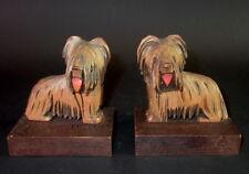 - 2 - Art Deco Buchstützen - Holz geschnitzte Terrier - Bosse Typ