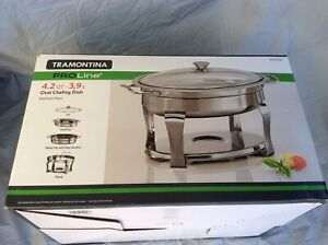 Tramontina Oval 3.9L Chafing Dish Heavy Gauge Stainless Steel Stand (NO LID)