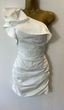 FOREVER UNIQUE Size 8 One Shoulder Ruffled Mini Dress White Sateen Party Blogger