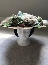 Vintage Style Hand-Decorated Tea Party Wide-Brimmed Straw Hat -Euc!