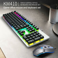 USB Wired Backlight Gaming Keyboard&Mouse Colorful LED Mechanical PC Laptop
