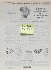 1953-1954 CHEVROLET PASSENGER TRUCKS 235 CU FICHE CARBURATEUR CARBURETER CARTER