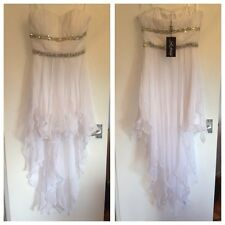 BNWT Ladies La Femme White Short Floaty Chiffon Prom/Bridesmaid Dress-UK 10,US 6
