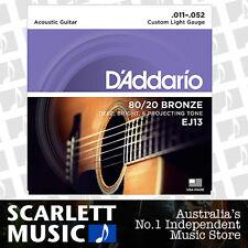 D'Addario EJ13 11-52 80/20 Custom Light Acoustic Guitar Strings Daddario EJ-13