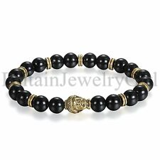 Men's Gold Tone Buddha Black Artificial Onyx Beaded Bracelet Lucky Bangle Gift