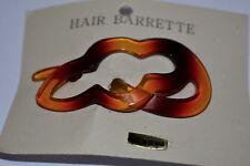 TORTOISE PLASTIC VINTAGE HAIR BARRETTE * HAIR SLIDE * DECORATIVE  2.5 INCH LONG