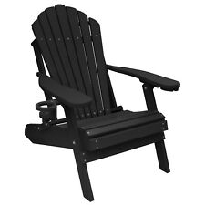 New Deluxe Outer Banks Black Poly Lumber Adirondack Chair w/ Cup Holder