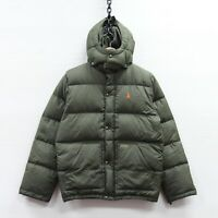 Vintage Polo Ralph Lauren Puffer Jacket Youth Large Green Down Insulated Hooded