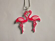 PINK FLAMINGO LOVEBIRDS Large Charm NECKLACE