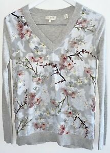 Ted Baker Oriental Bloom Print Sweater Jumper Top Size 1 ( 10 Aus)
