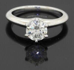 Tiffany & Co. Platinum 0.99CT VS1/H diamond solitaire wedding ring size 5.25