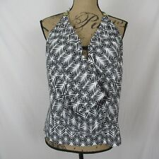 Island Escape Tankini Top Draped Halter Push-Up Geometric size 12 New $34.98