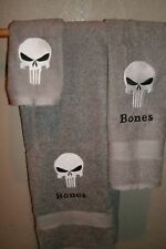 Punisher Skull Comic Book Inspired Personalized 3 Piece Bath Towel Set