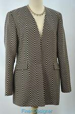 Louben blazer light coat long sleeve jacket chevron stripes open SIZE 10 NEW VTG