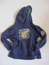 Boy's sweater with hoodie, size 116/122, with bull dozer motif, blue