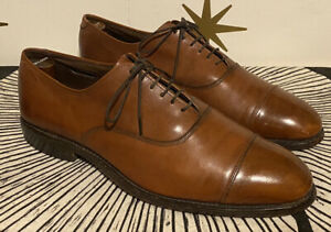 Mens ALLEN EDMONDS Park Avenue Brown Leather Cap Toe Oxford Shoes Sz 8.5 D