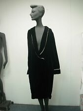 Vtg 1991 Eileen West Queen Annes Lace Black Velvet Womens Sexy Low Cut Robe Sz S
