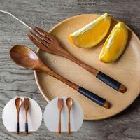 Wooden Spoon Fork Bamboo Kitchen Cooking Utensil Tool Soup Teaspoon Tableware