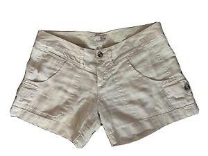 Joie Women Beige Khaki Linen Shorts Size 8 Pockets