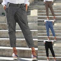ZANZEA Women Elastic Waist Harem Pants Casual Loose Pockets Trousers Plus Size
