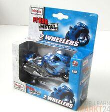 "Maisto FRESH METAL 2 Wheeler kawasaki ""ninja"" in blu modello scala 1:18 - SCATOLA ORIGINALE"