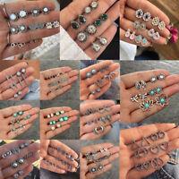 Mix 6Pairs Fashion Women Earrings Set Rhinestone Crystal Pearl Ear Stud Jewelry