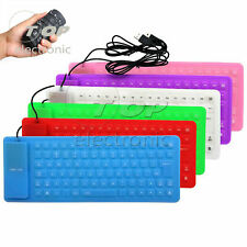 Portable 85Key Keyboard Silicone Waterproof Soft Flexible Foldable for Laptop Pc