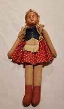 Antique Textile Paper Mache German-Swiss Cloth Body Doll, 12 inch