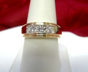 14K YELLOW GOLD MENS WEDDING BAND WITH .45 CT ROUND DIAMONDS RING SIZE 9.25!