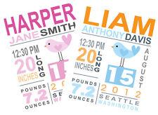 8 X 10 Custom Birth Announcement Print Baby Girl / Boy Nursery Wall Art Decor!