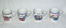 Set of 4 NASCAR Collectible Coffee Mugs GIBSON 2002 Auto DW & MW Safe Cups