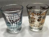 Vintage Lot Of 2 Las Vegas Shot Glasses ~ Hotels/Casinos & Plain Las Vegas