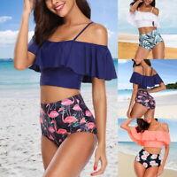 Women Retro Ruched Flounce Bikini High Waist Print Bathing Tummy Control Suit #@