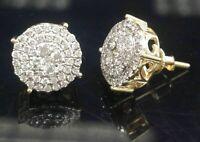 1.30 Ct Round Cut Diamond Women Wedding Cluster Stud Earrings 14k Yellow Gold FN