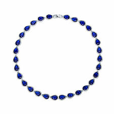 """Pear Blue Sapphire Tennis Necklace Wedding Jewelry 18"""" 18K White Gold Filled"""