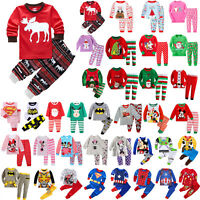Kids Boys Girls 2Pcs Sleepwear Santa Reindeer Pyjama Pajama Sets Nightwear Pjs