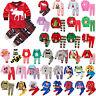 Kids Boy Girl 2Pcs Sleepwear Santa Reindeer Pyjama Pajama Set Nightwear Pjs 1-8Y
