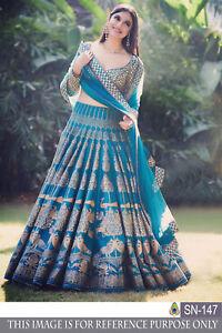 Designer Wear Bridal Lehenga Choli Pakistani Indian Blue Wedding Ghagra Lengha