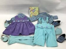 American Girl Bitty Twins Retired Play Outfits for Girl and Boy plus Book, Shoes