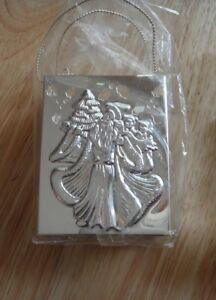 """3""""x2"""" 3D Silver-plate Hard Metal Santa Royal Limited Gift Bag Box with Handles"""