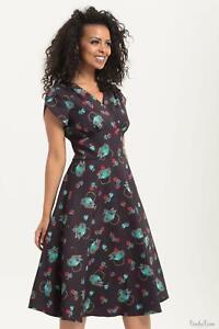 Voodoo Vixen Womens Tea-Time Full Day Dress 1950s Vintage Inspired Retro Dresses
