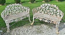 Vintage Pair Ornate Cast Iron Grape Leaf Vine Garden Yard Bench Free Shipping